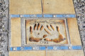 Walk of Fame in Cannes,France.Sharon Stone hands Royalty Free Stock Photo