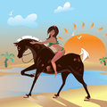 Walk on horseback at sea girl riding a horse in a bathing suit Stock Photo