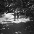 On the walk mother and daughter two women in park in gdansk zaspa Royalty Free Stock Image