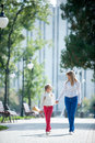Walk in the park mother and daughter walking summer Royalty Free Stock Photo