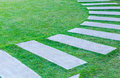 The walk path in the park with green grass Royalty Free Stock Photography
