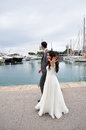 Walk in port the groom and the bride on Stock Photography