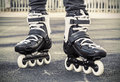 Walk on roller skates for skating. toned photo Royalty Free Stock Photo