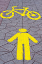 Walk street and bicycle lane in bangkok thailan Stock Photo