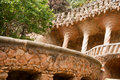 Walk way by Antoni Gaudi in park Guell Stock Images