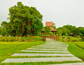 Walk way and pedestrian bridge in public park suanluang rama thailand Royalty Free Stock Photos