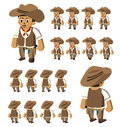 Walk western cowboy vector cartoon Stock Photography