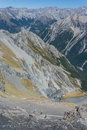 Walkers on footpath to glacial valley in southern alps Royalty Free Stock Image