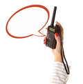 Walkie-talkie in womans hand with empty text box Royalty Free Stock Photography