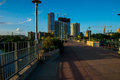 Walking Across Pedestrian Bridge Austin Texas Royalty Free Stock Photo