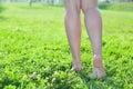 Walking barefoot on green grass women legs Royalty Free Stock Photo