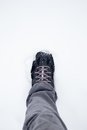 Walking boots in the snow Stock Image