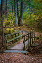 Walking bridge on hiking trail Royalty Free Stock Photo