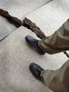 Walking on Broken Dangerous Sidewalk