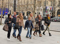 Walking on champs elysees people paris france Stock Image