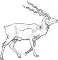 Walking deer with traditional brush stroke