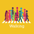 Walking design over yellow background vector illustration Stock Photo