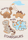 Walking with dinosaurs vector illustration of baby embroidery design Royalty Free Stock Images