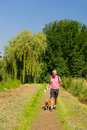 Walking with dog in nature landscape Royalty Free Stock Photos