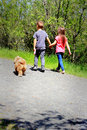 Walking the dog two little kids a on a leash down a country road holding hands backs to camera away shallow depth of field Stock Image