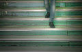 Walking down the steps person in a supermarket Royalty Free Stock Photography