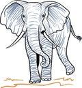 Walking Elephant Line Art