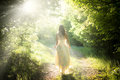 Walking fairy beautiful young woman wearing elegant white dress on a forest path with rays of sunlight beaming through the leaves Royalty Free Stock Photos