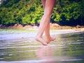 Walking girl on the beach Royalty Free Stock Photo