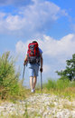 Walking hiker on stony path Royalty Free Stock Photo