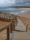 Walking the line exploring beauty of portuguese coast Royalty Free Stock Images