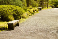 Walking path blooming japanese garden Stock Images