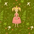 Walking princess background with birds and flowers illustration eps illustration eps Stock Photo