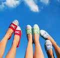 Walking on the sky summer fashion and friendship concept Royalty Free Stock Photography