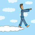 Walking in sleep somnambulant guy on cloud Royalty Free Stock Photo