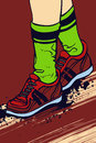 Walking in sport shoes comic book style background illustration of a pair of leg with place for text Royalty Free Stock Photography
