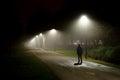 Walking on Street in Deep Night Royalty Free Stock Photo