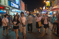 Walking street at night and asian town festival phuket thailand feb unidentified people walk on central pedestrian during annual Royalty Free Stock Photo