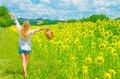 Walking on sunflower field