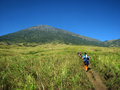 Walking to the top of rinjani vulcano highest mountain in lombok island indonesia Stock Photography