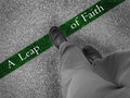 Walking towards imrpovement with a leap of faith man across green line words Royalty Free Stock Photography