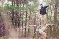 Walking on tree trunk young man in the forest Royalty Free Stock Photo
