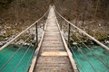 Walking on wooden footbridge crossing over turquoise river of soca, triglav national park, slovenia Royalty Free Stock Photo