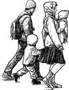 Walking young family vector drawing of the on a walk Royalty Free Stock Photos
