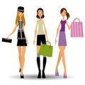WalkingFashionGirls Stock Photo
