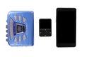 Walkman mp3 player and smart phone Royalty Free Stock Photo