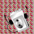 Walkman on a pixel pattern Stock Images