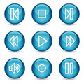 Walkman web icons, blue glossy sphere series Royalty Free Stock Image