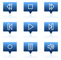 Walkman web icons, blue speech bubbles series Royalty Free Stock Images