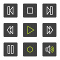 Walkman web icons, grey square buttons series Stock Photos