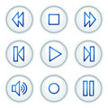 Walkman web icons, white circle buttons series Royalty Free Stock Image